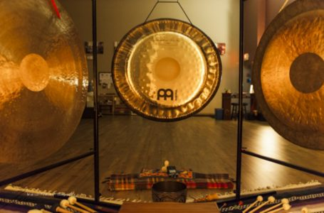 The gongs after a gong meditation performance at Living Yoga