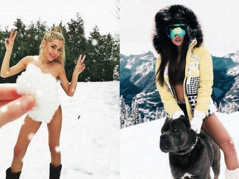 Новата мода при звездите: По бански в снега! (снимки 18+)