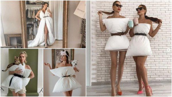 Новата модна тенденция – карантинна рокля от възглавници